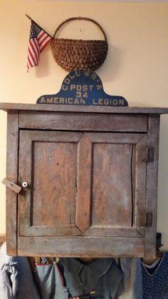 Antique early cupboard in paint * ebay.