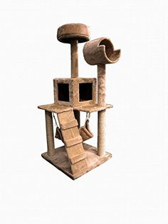 tontru 49″ Cat Tree Tower Condo Furniture Scratch Post Kitty Pet House Play Furniture Sisal Pole Stairs and Hammock (Beige)55 x 53 x 124CM – Cat Supplies