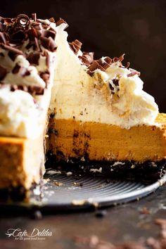 Chocolate Pumpkin Cheesecake (Optional Bourbon Whipped Cream) - Cafe Delites