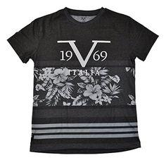 Versace 19-69 Abbigliamento Sportivo SRL Big Boys S/S Hawaiian Print Design Top (18, Charcoal) - Brought to you by Avarsha.com