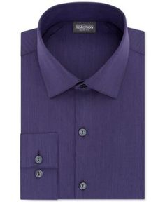 Kenneth Cole Reaction Slim-Fit Techni-Cole Flex Collar Solid Dress Shirt - Purple 16.5 34/35