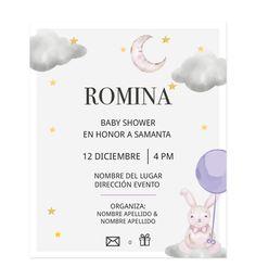 Invitación Baby Shower Conejito Volando - Oh! Yupi Yei