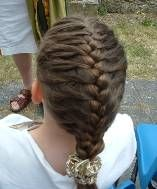 French Braid.  I  used to have Mom do this for me all the time!