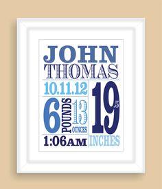 Personalized Baby Birth Stats 8x10 Personalized Custom Newborn Boy Wall Typography Art Print Nursery Gift. $19.00, via Etsy.