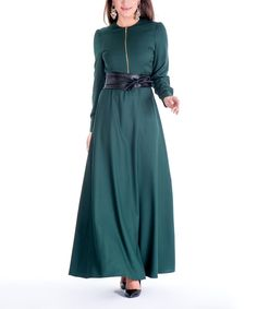 Forest Green Belted Maxi Dress