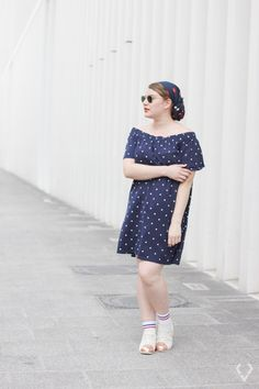 How to Wear Dots - kessyandjoey Shoulder Dress, Dots, How To Wear, Outfits, Vintage, Dresses, Style, Fashion, Stitches
