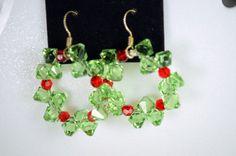 Christmas Wreath Swarovski Crystal & Sterling Silver Earrings