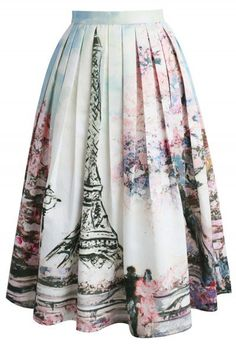 Love in Paris Printed Midi Skirt