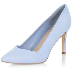 Wide Fit Pale Blue Sweetheart Trim Pointed Court Shoes ($11) ❤ liked on Polyvore featuring shoes, pumps, heels, high heeled footwear, wide heel shoes, pointed toe high heel pumps, pointy high heel pumps and high heel shoes