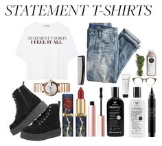 """004"" by sinclair-west ❤ liked on Polyvore featuring Vince, J.Crew, Gucci, Too Faced Cosmetics, MAC Cosmetics, Denman, Oliver Peoples and Context"