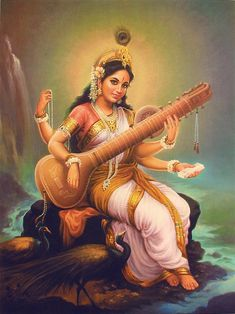 """Sarasvati's themes are learning, wisdom and communication.  Her symbols are white flowers (especially Lotus), marigolds and swans. A Hindu Goddess of eloquence and intelligence, Sarasv…"