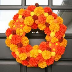 "Fall Craft: Make a Country Pumpkin DIY Fall ""pom-pom"" wreath DIY Fall Crafts: Scarecrow Lollipops DIY Chalk paint pumpkins DIY Fabric Covered Pumpkins Fall Wreath Tutorial, Diy Fall Wreath, Wreath Crafts, Fall Diy, Fall Wreaths, Wreath Ideas, Door Wreaths, Diy Tutorial, Thanksgiving Wreaths"
