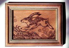 Pyrography Art, Framed wood Burning, Hare art, original art, wall decor, Hare Painting, bunny art, woodburning, rabbit art, Moon Gazing