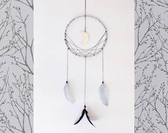 Dream catcher handmade wall hanging dreamcatcher silver moon interior design