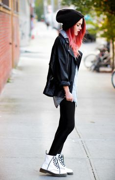 Black and denim shirt with white Dr Martens ~ Luanna