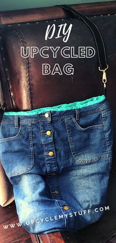 In this sewing tutorial you'll learn how to quickly turn an old denim skirt into a funky over the shoulder bag. This is a great project for repurposing and reusing an old skirt that doesn't fit and giving it a new lease of life. This is a simple project, suitable for beginner sewers and upcyclers. There is nothing more fun than making your own bag out of something that has been lying unworn and unloved in your closet! #upcycling #diyhandbag #diydenimbag #denimbag #upcycledclothing Denim Handbags, New Handbags, Denim Bag, Denim Skirt, Diy Tote Bag, Tote Bags, Repurposing, Upcycling Projects, Reuse Clothes