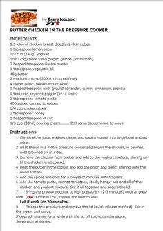 Butter Chicken in the pressure cooker - Jesie Pressure Cooker Chicken Curry, Instant Pot Pressure Cooker, Pressure Cooker Recipes, Pressure Cooking, Slow Cooker, Crockpot Recipes, Cooking Recipes, Cooking Ideas, Lemon Butter Chicken