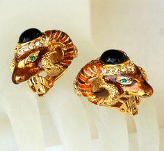 Ciner Rhinestone Earrings Egyptian Ram.