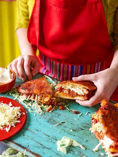 Mexican potato and chorizo sandwiches (pambazos)..