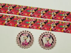 """2 Yards 1"""" Minnie Mouse  Inspired Grosgrain Ribbon and 2 Cap's  #Unbranded"""