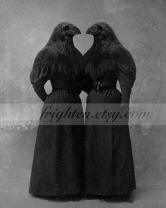 Impression dArt Crow soeurs jumelles Decor Halloween par frighten