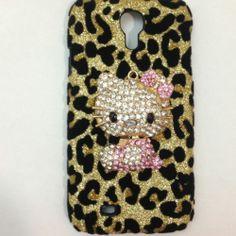 Diamond Rhinestone Case Cover Samsung Galaxy S4 3D Leopard pearl Hello Kitty