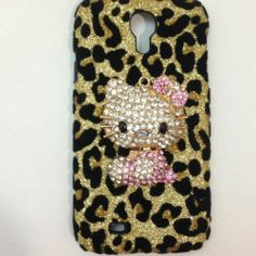 Diamond Rhinestone Case Cover Samsung Galaxy S4 3D Leopard pearl Hello Kitty