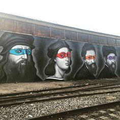 Wonderful Mural In Brooklyn Featuring Teenage Mutant Ninja Turtles as the Renaissance Painters They Were Named After Bee Creative, Creative Skills, Best Graffiti, Graffiti Art, Turtle Love, Arts Ed, Art Memes, Teenage Mutant Ninja Turtles, Cool Artwork