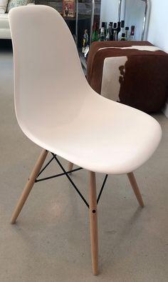1 White Eames Molded Plastic Dowel-Leg Side Chair Howell Furniture, Plastic Molds, Eames, Side Chairs, Home Decor, Decoration Home, Room Decor, Chairs, Home Interior Design