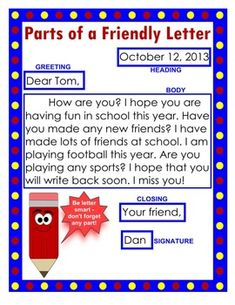 friendly letter anchor chart and worksheet packet teacherspayteacherscom