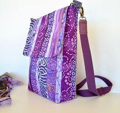 Violet cross body bag with batik patchwork fabric Island