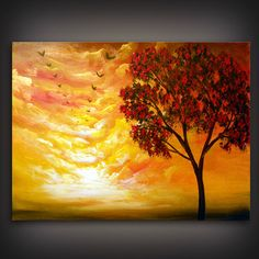 palette knife retro cloud painting tree painting large by mattsart, $179.00
