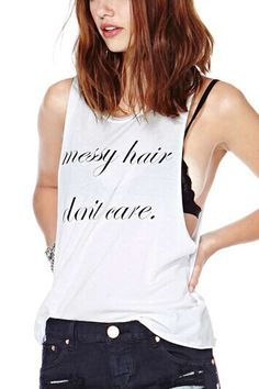 Fashion Letters Printing White Vest