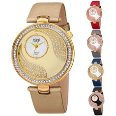 This beautiful Bürgi women's timepiece features a slim 40mm case design with a polished finish and Swarovski crystal bezel. The dial is comprised of a custom-cut genuine mother-of-pearl interlaced with an elegant swirl and filled with Swarovski crystals.   eBay!