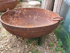 Old Iron Fire Bowl - Kadai From Rajasthan - inc stand