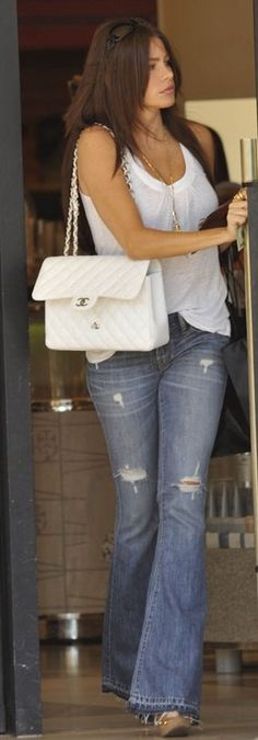 Who made Sofia Vergara's white purse and jeans that she wore in Beverly Hills?