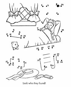 Nursery Rhyme Dot-to-Dot Pages | Goldilocks and the three bears connect the dots Activity page sheet - | HonkingDonkey