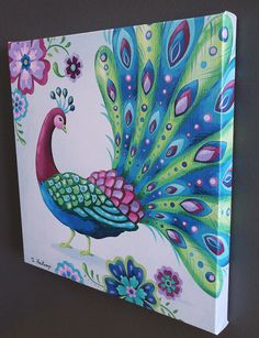Peacock 2 Gallery Wrapped Canvas Print 14 X 14 by pictorialboom, $49.00