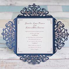 2016 trending navy blue laser cut elegant wedding invitations