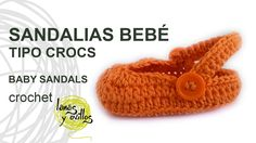 Tutorial Sandalias Bebé Crochet o Ganchillo Tipo Crocs Baby Sandals (Eng...