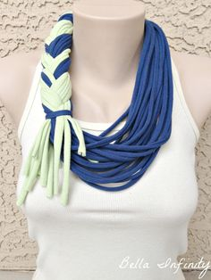 Bella Infinity Braided Scarf Navy Mint by BellaInfinityScarves, $25.00 www.facebook.com/infinity0512