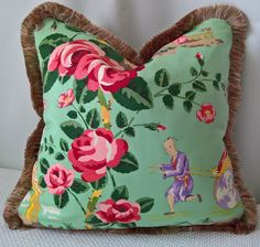 Scalamandre China Rose Chinoiserie Custom Pillow Pink and Purple on Pale Green Scalamandre Gripsholm 100% Silk Trim by yorkshiredesigns on Etsy
