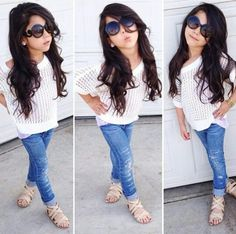 Lovely little girl with a white blouse and denim pants. very simple outfit but looks beautiful. Cute Kids Fashion, Little Girl Fashion, Toddler Fashion, Toddler Outfits, Outfits Niños, Kids Outfits, Cute Little Girls Outfits, Look Girl, Little Fashionista