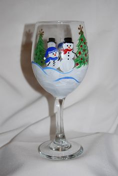 Snowman wine glasses - cute