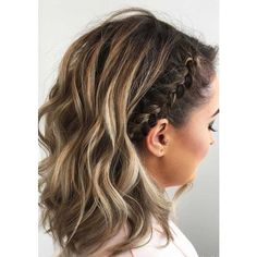 27 Cute Braided Hairstyles for Short Hair ❤ liked on Polyvore featuring accessories, hair accessories and short hair accessories