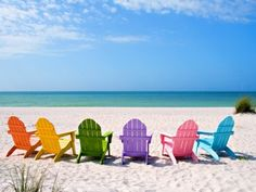 rainbow of beachchairs