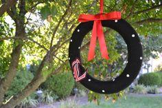 University of Louisville polka dot wreath by ShuhpuppyAndDeppy, $20.00