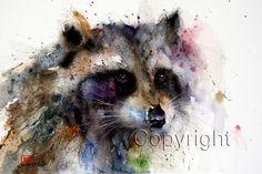 Impresión de mapache de acuarela Original por Dean Crouser