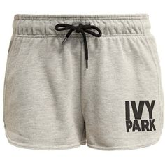 Ivy Park Tracksuit bottoms light grey marl (£25) ❤ liked on Polyvore featuring activewear, activewear shorts, shorts, bottoms, clothes - shorts, ivy park, ivy park sportswear and ivy park activewear