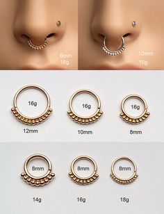 Nose Ring / small septum ring with 1mm balls SOLID 14K by Noyfir